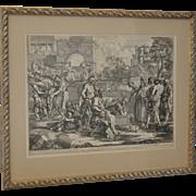 Sebastien Bourdon (French, 1616-1671) Old Testament Engraving circa 17th / 18th c.
