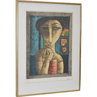 """Vintage 1960s Lithograph """"Girl w/ Flower"""" Limited Edition"""