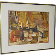 """Mixed Media Abstract """"Gravel Pit"""" by Dorothy Thompson c.1970"""