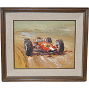 Vintage Cooper Race Car No. 4 Oil Painting