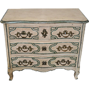 19th Century Hand Carved French Painted Chest of Drawers