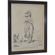 """""""A Republican Belle - A Picture of Paris for 1794"""" Etching by Isaac Cruikshank"""