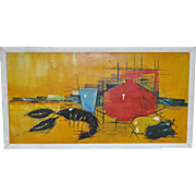 Culinary Cubist Crayfish Still Life c.1950s