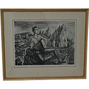 "Peppino Mangravite Pencil Signed Lithograph ""Young Man Who Went West"" c.1940"
