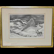 "Ernest Fiene Pencil Signed Lithograph ""Winter Evening"" c.1936"