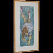 "Imaginative ""Falling Girl"" Vintage Original Color Pencil Painting"