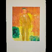 "Arthur Krakower (American, 1921-2006) ""Man on the Beach"" Original Monotype c.2001"