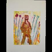 "Arthur Krakower (American, 1921-2009) ""Woman in the Garden"" Monotype c.2006"