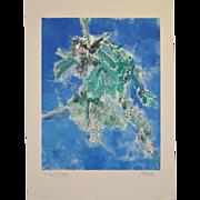 """Arthur Krakower (1921-2009) """"Aspen Flower"""" Original Monotype c.2004"""