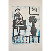 "Arthur Krakower (American, 1921-2009) ""Girl Seated with Flowers"" Original Monotype c.2004"