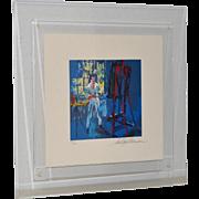 "LeRoy Neiman (American, 1921-2012)  ""Self Portrait"" Double Signed Serigraph c.1990"
