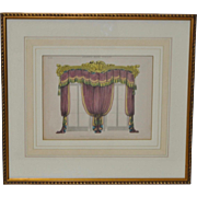 "Antique Interior Design Hand Colored Engraving ""Drawing Room Curtains"" c.1827"