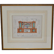 "Antique Interior Design Hand Colored Engraving ""Bookcase for a Study"" c.1826"