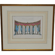 "Antique Interior Design Hand Colored Engraving ""Curtains for a Gothic Room"" c.1826"