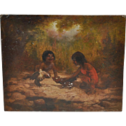 Late 19th to Early 20th Century Oil Painting of California Pomo Indian Children by W.F. Haney