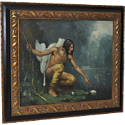 "19th Century Oil Painting ""Indian Hunter"" by D. Hensel c.1890"