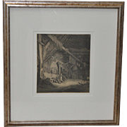 "Adriaen van Ostade Engraving ""Barn Interior"" 17th Century"
