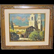 Vintage Impressionist California Mission Landscape c.1965
