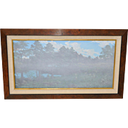 "Frank Magsino Oil Painting ""Misty Landscape with Covered Bridge c.1970s"