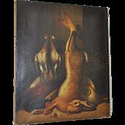 19th Century Old Master Hunting Still Life w/ Rabbit, Pheasant & Shore Birds