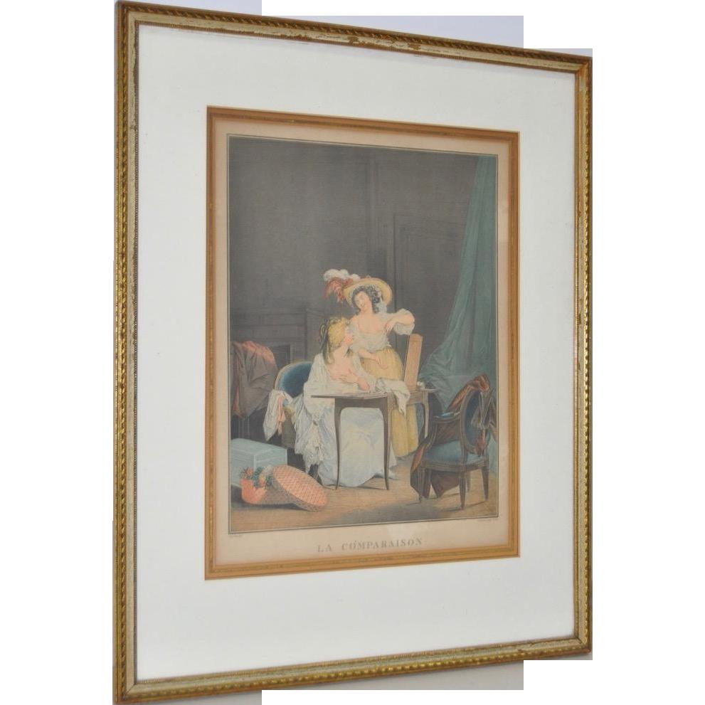 Rare 18th Century French Erotica Color Engraving Quot La