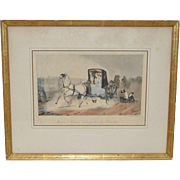 Antique Hand Colored French Engraving 19th Century
