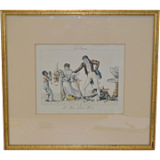 "Early 19th Century Hand Colored French Engraving ""New Years Gifts"" c.1820s"