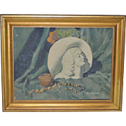 Vintage Art Deco Still Life Oil Painting by Ruth Cardas c.1940s