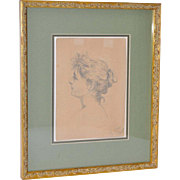 Early 20th Century Pencil Portrait of a Young Woman