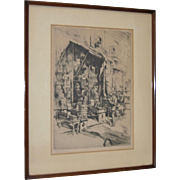 "Alexander Aladar Blum (1888-1969) Original Pencil Signed Etching ""Bookseller"" c.1940s"