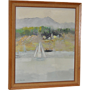 "Jean Kalisch (California / Japan) Original ""Coast"" Oil Painting c.1950s"