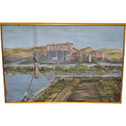 Hutchinson Co. Quarry (Dirty Harry, Larkspur Landing) Original Marin County Oil Painting c.1960