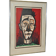 """Bernard Buffet """"Clown with Fez"""" Pencil Signed Limited Edition Lithograph c.1968"""