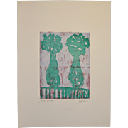 "Arthur J. Krakower Monotype ""Twin Vases"" c.2004"
