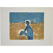 "Arthur Krakower ""Aunt Jean at Long Beach II"" Original Monotype w/ Pastel c.2004"
