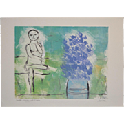 "Arthur Krakower ""Seated Woman With Flowers"" Original Monotype c.2004"