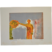 "Arthur Krakower ""Woman With Flower"" Original Monotype c.2006"
