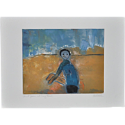 "Arthur Krakower ""Aunt Jean at Long Beach"" Original Monotype w/ Pastel c.2004"