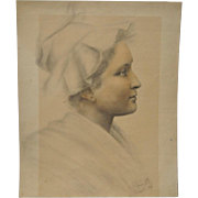 Remarkable Late 19th Century Pencil & Chalk Portrait