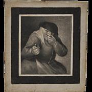 18th Century Miniature Engraving Man w/ Snuff