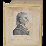 18th Century Pen & Ink Portrait of Johan Herman Wessel (1742-1785)
