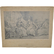 Fine 18th to 19th Century Pencil Drawing of Two Young Women Reading