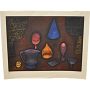 Mid Century Modern Abstract Still Life Lithograph c.1950s