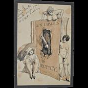 Victorian Era Erotica Pen & Ink Drawing c.1910