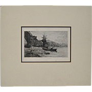 "Adolphe Appian (1818-1898) ""Bords du Lac du Bourget"" Etching c.1866"