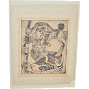 "Superb Cubist Abstract Etching ""Lady in Labor"" by Mystery Artist c.1940s"