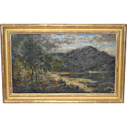 19th Century Mountain Landscape Oil Painting