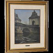 "Carl Schiotz ""Copenhagen Bridge"" Oil on Canvas"