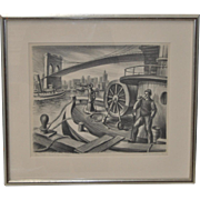 "Jack McMillen ""Fire Boat - Brooklyn Bridge"" Original Pencil Drawing c.1936"