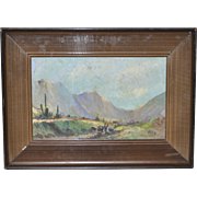 Peruvian Andes Mountain Landscape Painting c.1950s